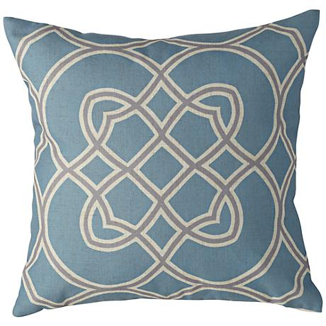 """Surya Light Blue and Gray 18"""" Square Decorative Pillow"""