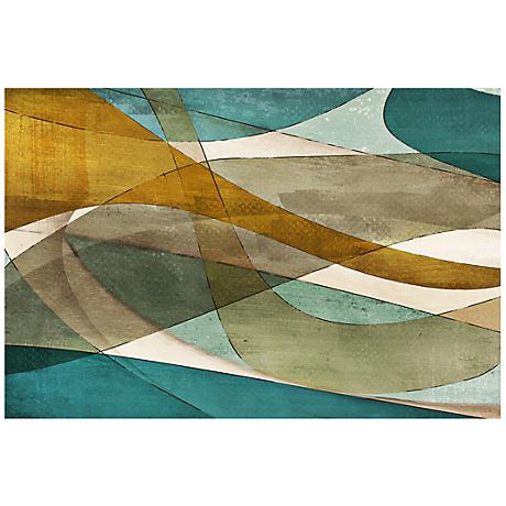 "Abstract Purposeful Blue Canvas 20"" Wide Giclee Wall art"