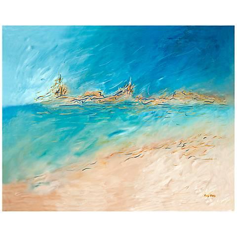 "Serene Oceanview Canvas 20"" Square Coastal Wall Art"