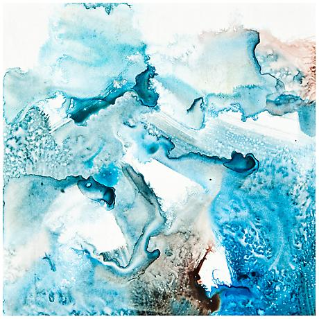 """Watery Abstract Blue Canvas 20"""" Square Giclee Wall Art"""