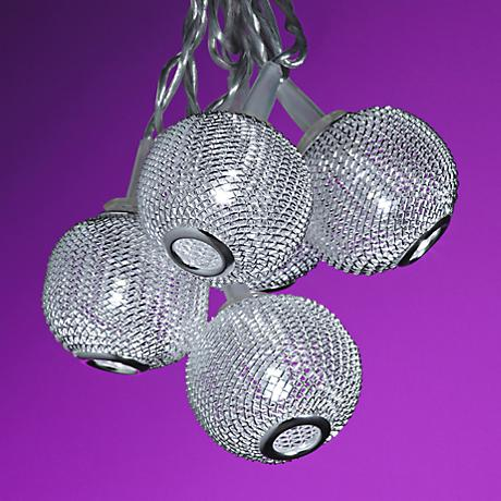 String Lights Lamps Plus : Silver Metal Mini Globes 10-Light LED String Party Lights - #4N005 Lamps Plus