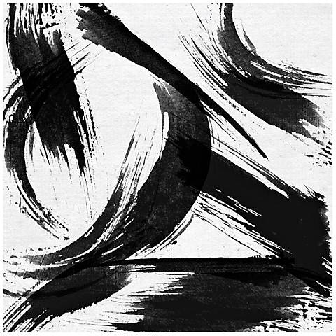 """Abstract Black White Strokes Canvas 20"""" Square Wall Art"""