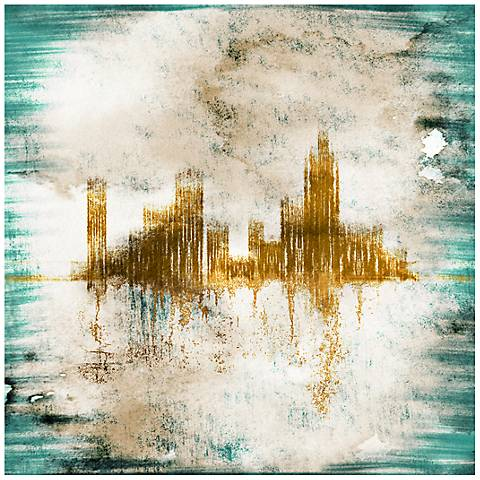 """Blue Gold Abstract City Canvas 20"""" Square Giclee Wall Art"""