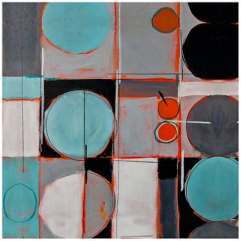 "Abstract Circles and Lines Canvas 20"" Square Wall Art"