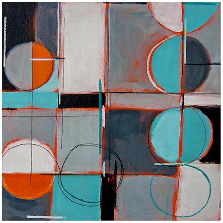 """Abstract Circles and Lines II Canvas 20"""" Square Wall Art"""