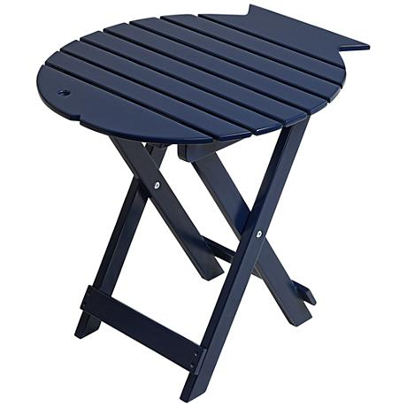 Monterey Fish Ocean Blue Wood Outdoor Folding Table