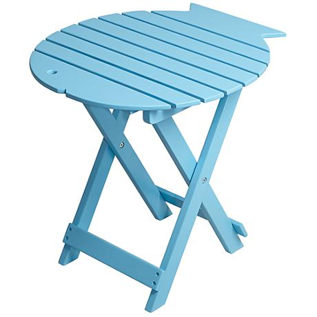 Monterey Fish Sky Blue Wood Outdoor Folding Table