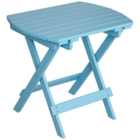 Monterey Sky Blue Outdoor Wood Side Table