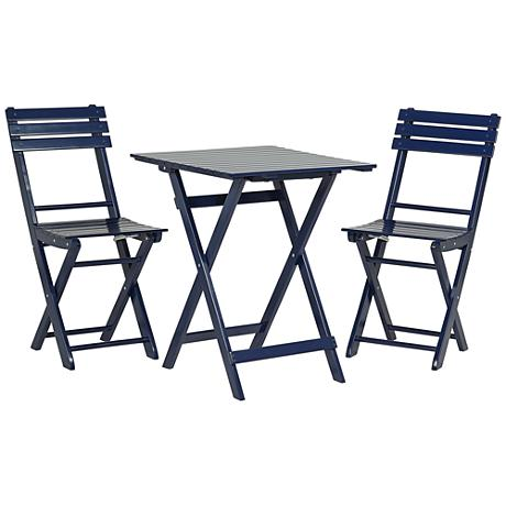 Set of 3 Monterey Ocean Blue Square Wood Table and Chairs