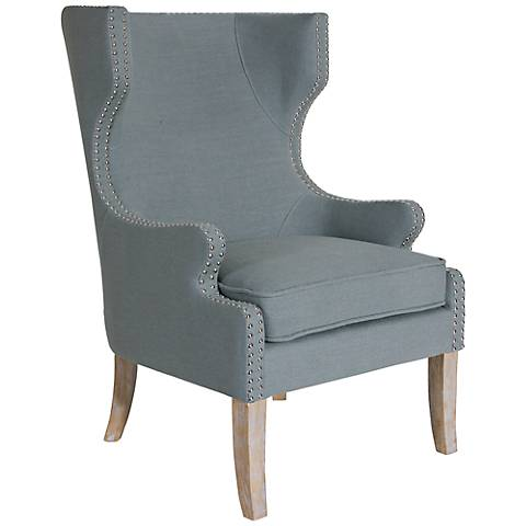 Uttermost Graycie Gray Linen Wing Chair
