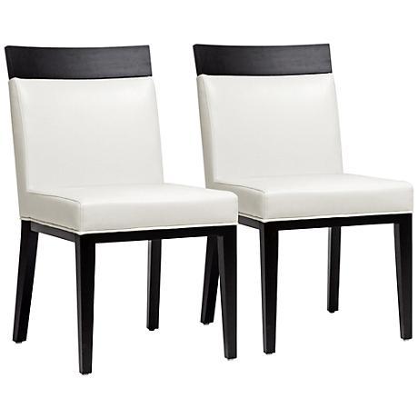 Set of 2 Clymene Cream Leather Dining Chairs