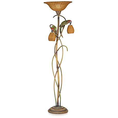 Parrot Paradise Torchiere Floor Lamp in Multi-Color