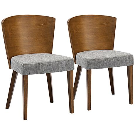 Set of 2 Sparrow Modern Brown Wood Dining Chairs