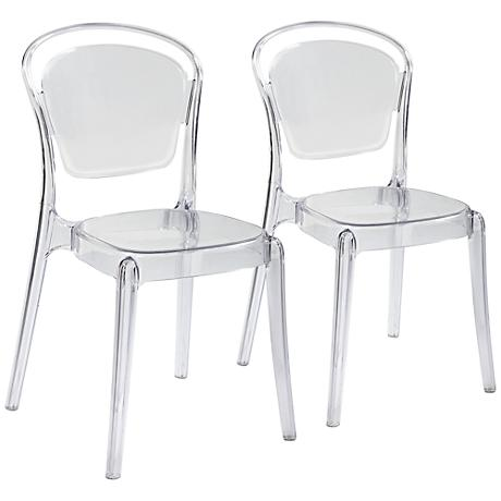 Set of 2 Ingram Clear Plastic Stackable Dining Chairs