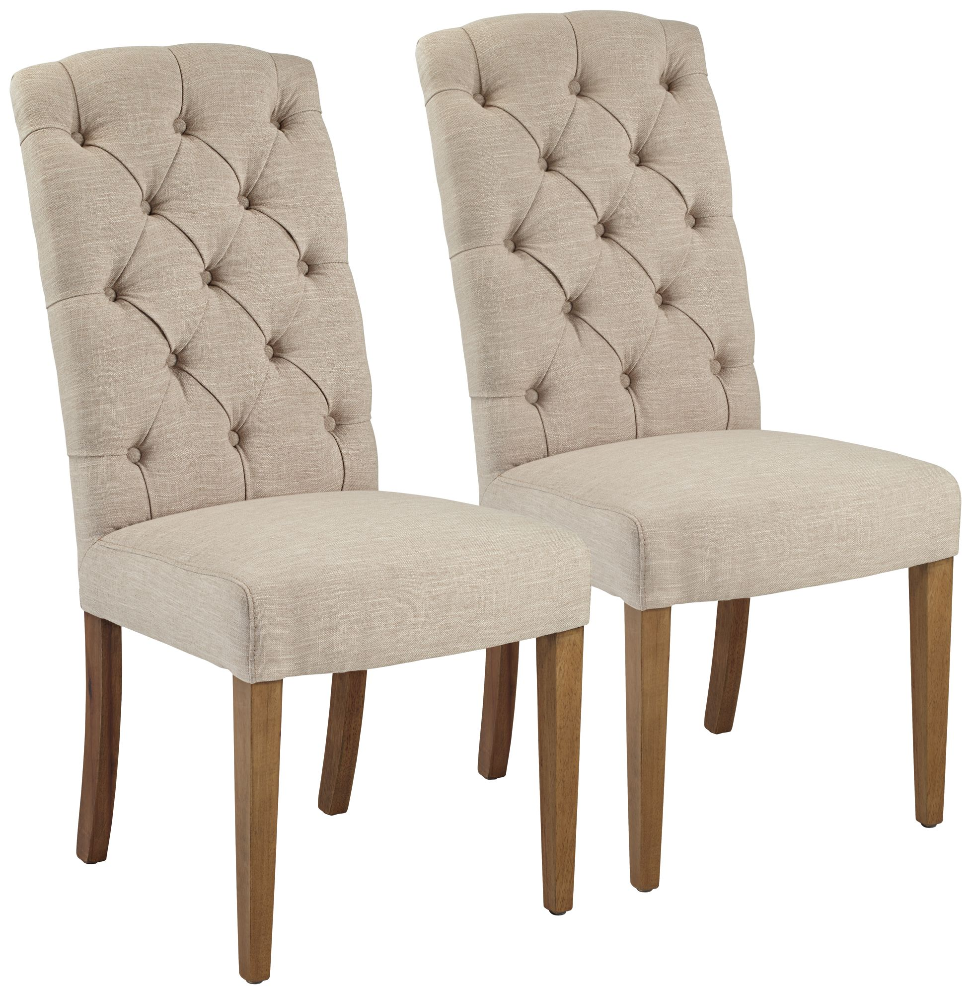 Superior Lydia Natural Linen Armless Accent Chair Set Of 2