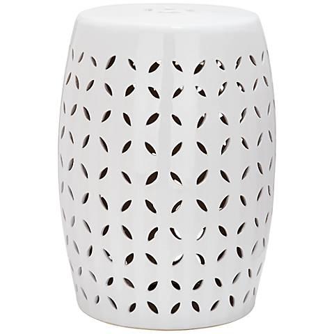 Safavieh Lattice Petal White Ceramic Garden Stool