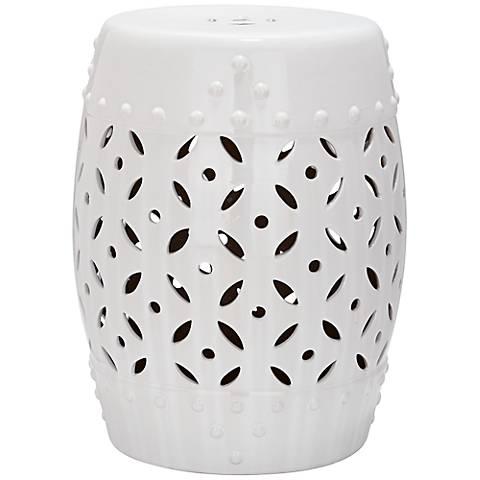 Safavieh Lattice Coin White Ceramic Garden Stool