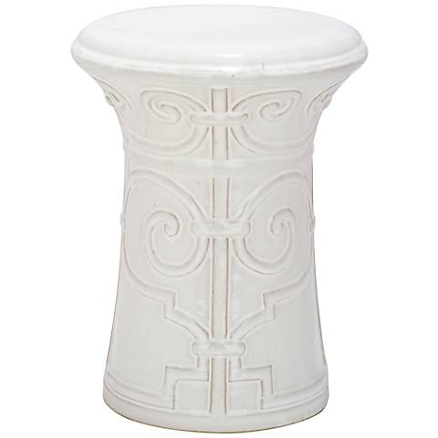 Safavieh Imperial Scroll White Ceramic Garden Stool