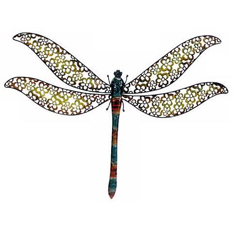 "Dragonfly Metal Wall Art prospera dragonfly 34"" wide metal wall art - #4p576 | lamps plus"
