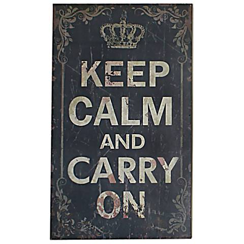 "Keep Calm and Carry On 19 3/4"" High Shabby Wood Wall Art"