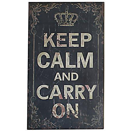 "Keep Calm and Carry On 19 3/4"" High Shabby Wood Wall Art"
