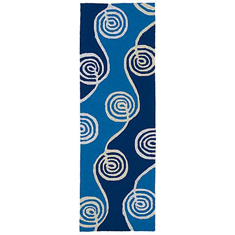 Kaleen Home & Porch 2031-17 Blue Swirl Indoor-Outdoor Rug