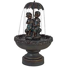 boy and girl under umbrella 40 high indooroutdoor fountain - Fountain For Home Decoration