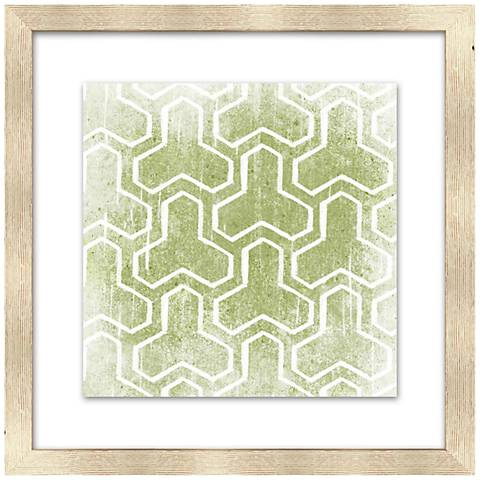 """Olive Green Patterns 18"""" Square Giclee Framed Wall Art"""