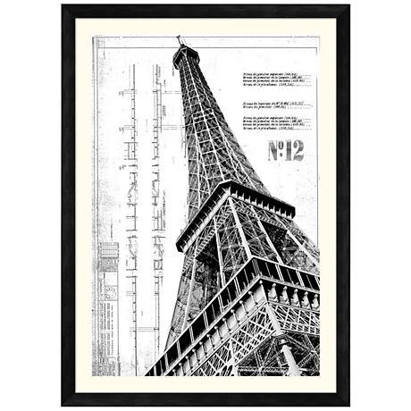 """Eiffel Tower 42 1/2"""" High Giclee Framed Wall Art"""