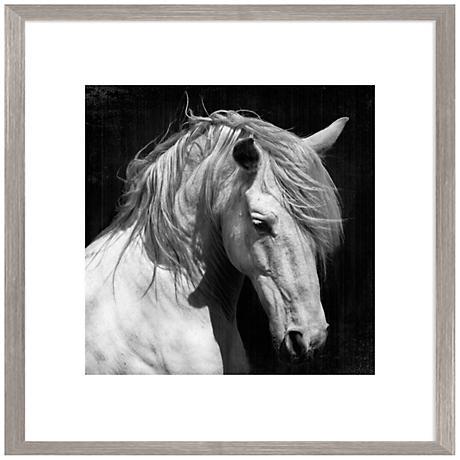 "White Horse Photo 26"" Square Giclee Framed Wall Art"