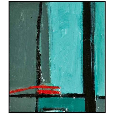 """Gray, Blue and Red Modern Abstract 29 1/2"""" High Wall Art"""