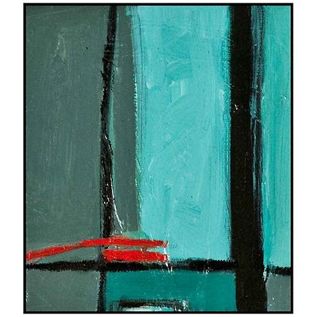 "Gray, Blue and Red Modern Abstract 29 1/2"" High Wall Art"