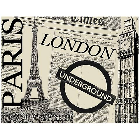 "UK Newspaper Collage 40"" Wide Giclee Print Canvas Wall Art"