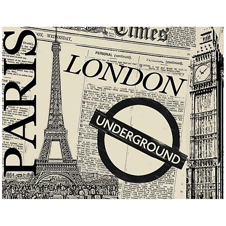"""UK Newspaper Collage 40"""" Wide Giclee Print Canvas Wall Art"""