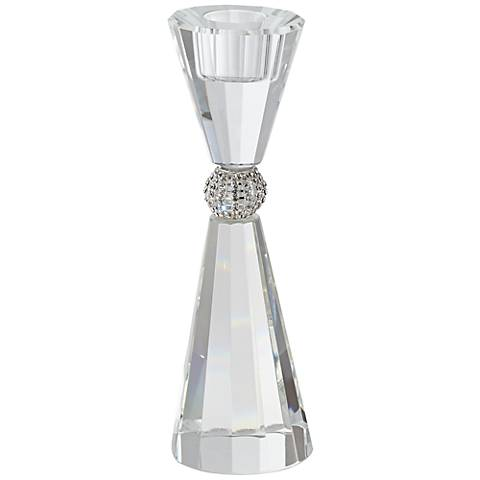 "Stasia 7 1/4"" High Crystal with Silver Pillar Candle Holder"