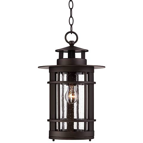 "Argentine 16 1/4""H Seedy Glass Outdoor Hanging Light"
