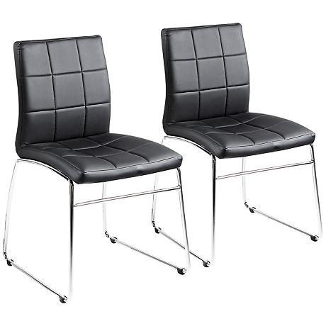 Gilbey Set of 2 Black and Chrome Dining Chairs