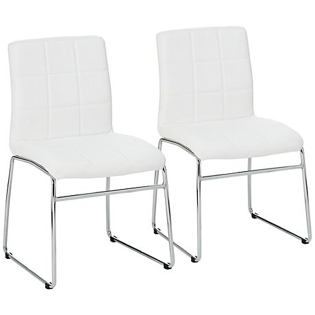 Gilbey Set of 2 White and Chrome Dining Chairs