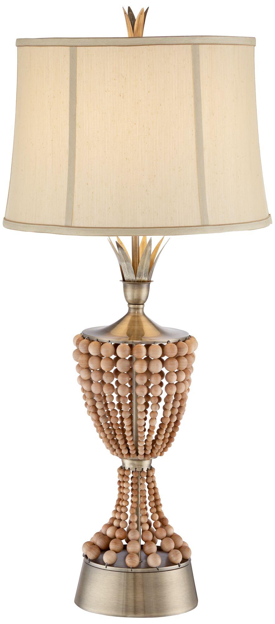 Hana Brass Wood Bead Table Lamp By Possini Euro Design