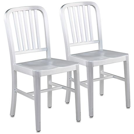 Set of 2 Cafe Aluminum Side Chairs