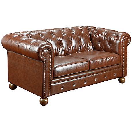 Winston1060 Mocha Bonded Leather Vintage Loveseat