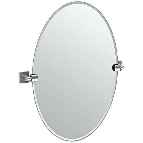 "Gatco Elevate Satin Nickel Oval 24"" x 26 1/2"" Wall Mirror"