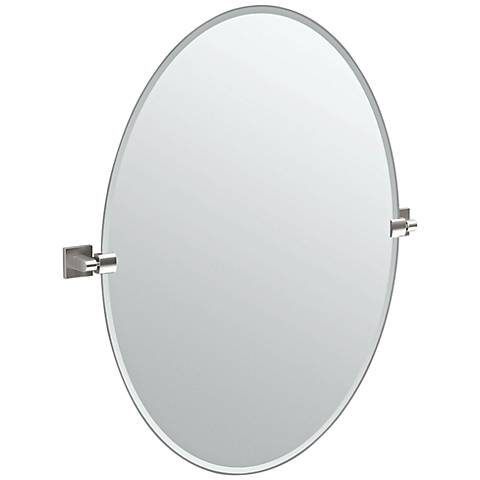 "Gatco Elevate Satin Nickel Oval 28 1/2"" x 32"" Wall Mirror"