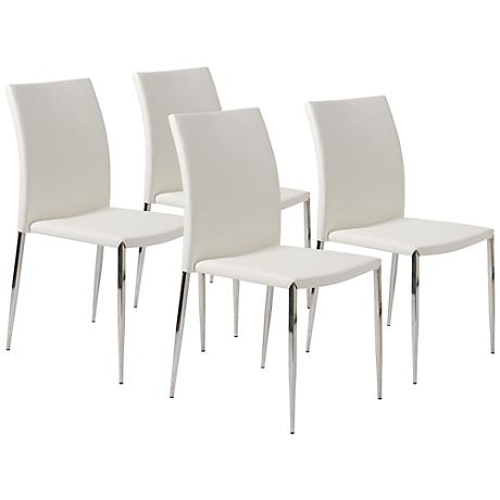 Set of 4 Diana White Faux Leather Side Chairs