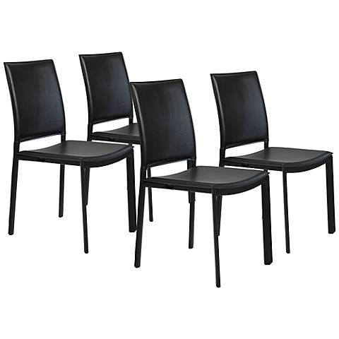 Set of 4 Kate Black Faux Leather Side Chairs