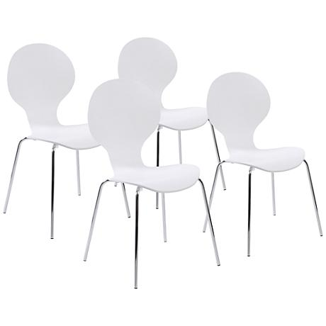 Set of 4 Bunny White and Chrome Side Chairs