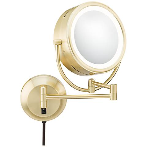 """Brushed Brass Pivoting 9"""" Wide LED Plug-In Vanity Mirror"""