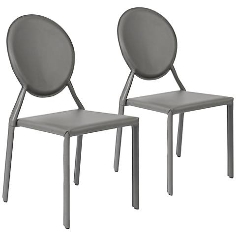 Set of 2 Isabella Gray Leather Side Chairs