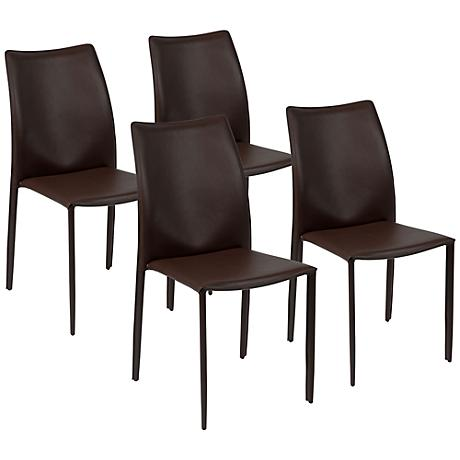 Set of 4 Dalia Brown Leather Side Chairs