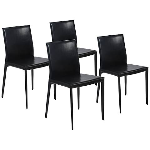 Set of 4 Shen Black Leather Side Chairs